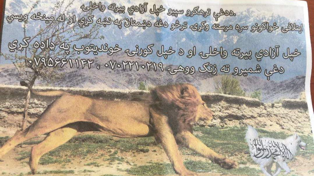 "On September 5, 2017, Resolute Support dropped this flyer over Parwan province, RS later apologized for including ""an image highly offensive to both Muslims and the religion of Islam"""